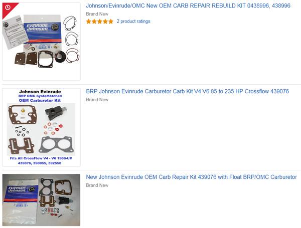New Johnson Evinrude OEM Carb Repair Kit 439076 with Float BRP//OMC Carburetor